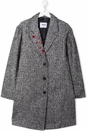 Msgm TEEN rhinestone-embellished single-breasted coat