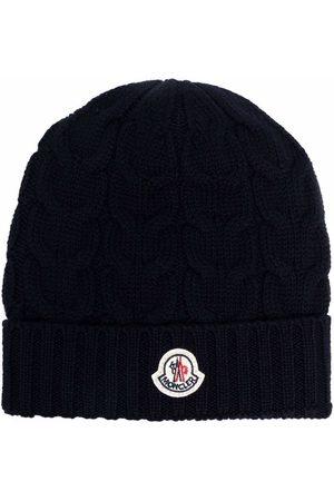 Moncler Logo-patch cable-knit beanie
