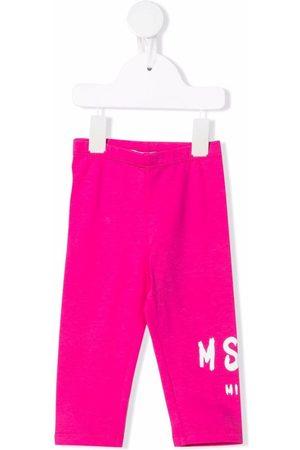 MSGM Kids Logo-print fleece leggings