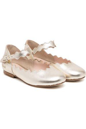 Chloé Kids Scallop-edge ballerina shoes