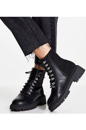 London Rebel Wide fit chunky hiker boots in black
