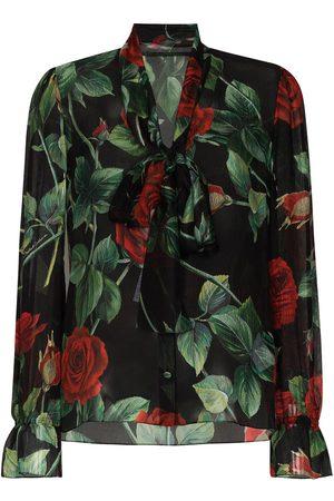Dolce & Gabbana DOLCE PUSSY BOW LS RFFL CFF BD ROSE PRNT