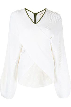 PortsPURE Dames Gebreide truien - Ribbed contrast-trimmed jumper
