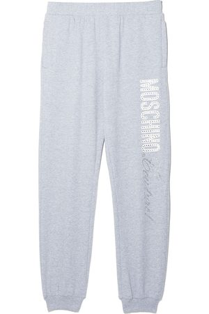 Moschino Kids TEEN crystal-embellished cotton track pants