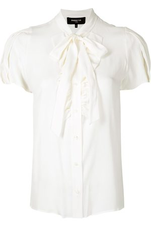 Paule Ka Ruffle-trimmed satin shirt
