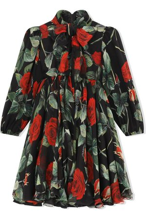 Dolce & Gabbana Rose-print silk dress