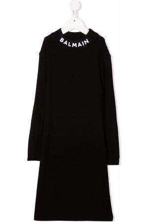 Balmain Logo-knit wool jumper dress