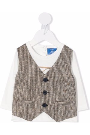 Fay Kids Herringbone-waistcoat layered top