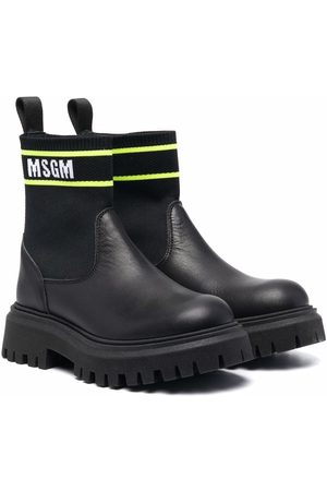 MSGM Kids Leather ankle-sock boots