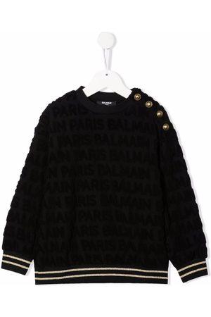 Balmain Meisjes Sweaters - Textured buttoned sweatshirt