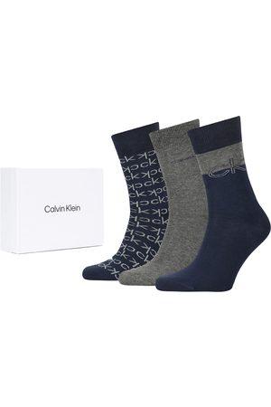 Calvin Klein Heren Sokken - Logo dress 3-pack giftbox blauw & grijs