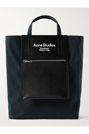 Acne Studios Baker Out Logo-Print Leather and Nylon Tote Bag