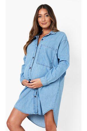 boohoo Zwangerschap Oversized Spijkerblouse Met Zijsplit