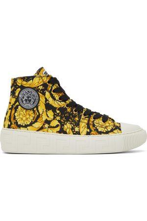 Versace Black Canvas Barocco Greca Sneakers
