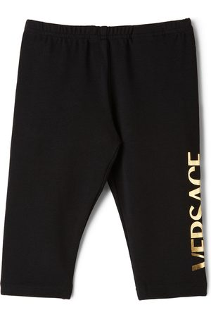 Versace Baby Black Logo Print Leggings