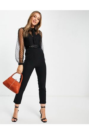 Little Mistress Beaded pussybow jumpsuit in black