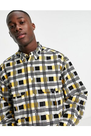 LEVIS SKATEBOARDING Levi's Skateboarding square check 2 pocket relaxed fit overshirt in black/yellow-Multi