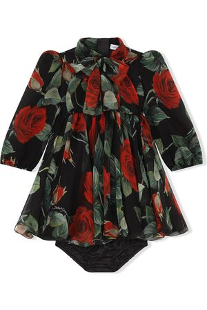 Dolce & Gabbana Kids Long-sleeve rose-print dress