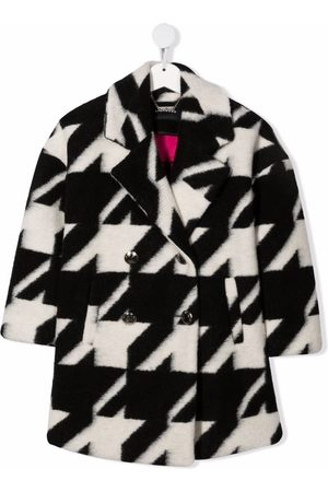 John Richmond Junior Double-breasted houndstooth wool coat