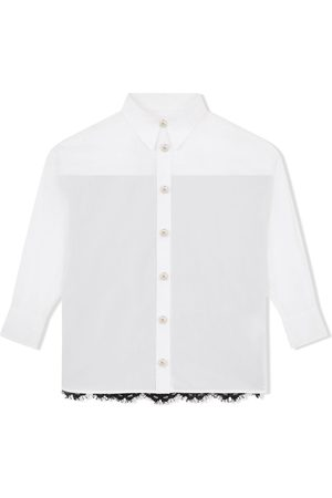 Dolce & Gabbana Meisjes Lange mouw - Long-sleeve lace-panel shirt