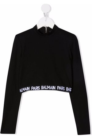 Balmain Zip-up logo-tape sweatshirt