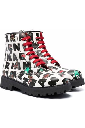 Marni Kids All-over logo rpint boots