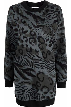 Kenzo Animal-print wool jumper dress