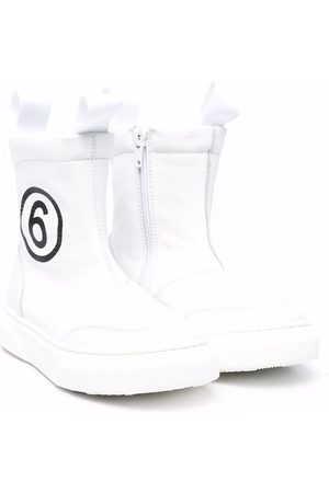 MM6 KIDS Logo-print leather boots