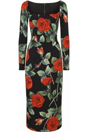 Dolce & Gabbana Scoop-neck rose-print dress