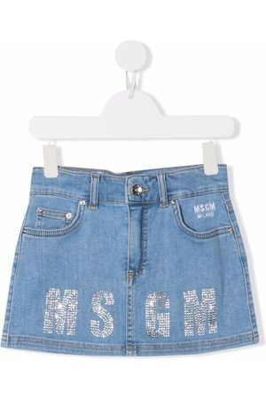 MSGM Kids Glitter logo denim skirt