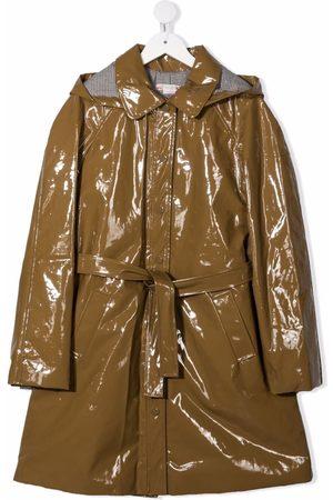 Bonpoint Stripe-lining belted raincoat
