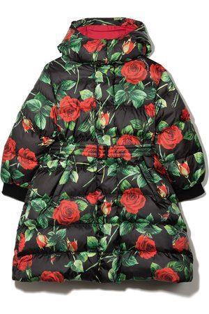 Dolce & Gabbana Rose-print puffer coat