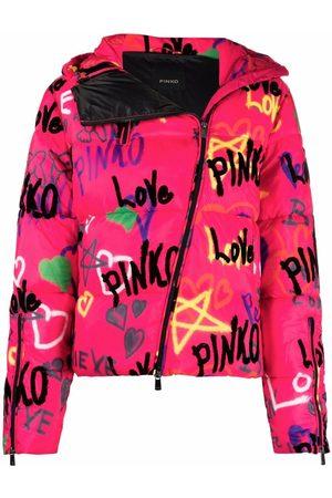 Pinko Graffiti-print puffer coat
