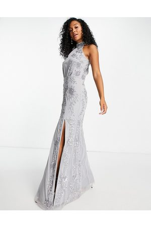 Little Mistress Floral sequin maxi dress in grey
