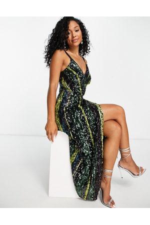 Little Mistress Sequin stripe midaxi dress in multi