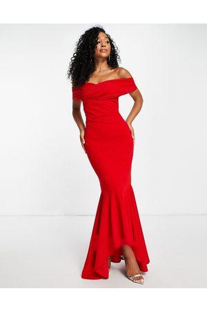 Little Mistress Bardot fishtail maxi dress in red