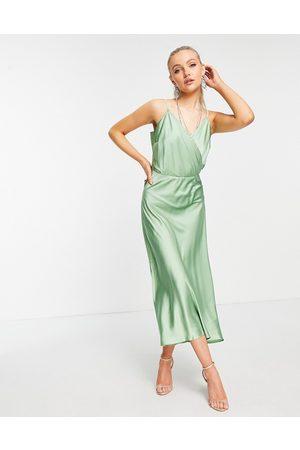 Liquorish Satin midi cami dress in mint-Green
