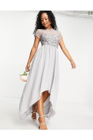Little Mistress Bridesmaid hand embellished sequin hi-low dress in grey
