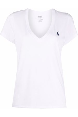 Polo Ralph Lauren Dames T-shirts - Embroidered-logo v-neck T-shirt