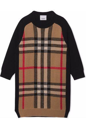 Burberry Kids Check jacquard sweater dress