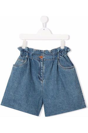 Philosophy Di Lorenzo Serafini Kids TEEN check-detail denim shorts