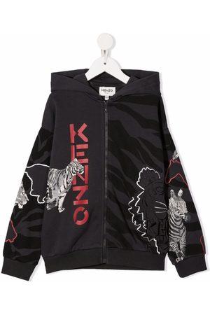 Kenzo Kids Jongens Bomberjacks - Animal-print hooded jacket
