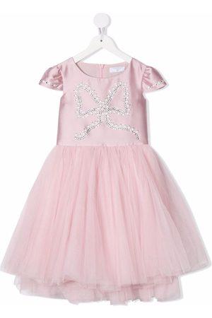 Monnalisa Meisjes Feestjurken - Rhinestone-bow tulle dress