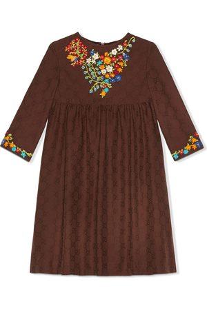 Gucci Kids Meisjes Feestjurken - GG-motif floral-embroidered dress