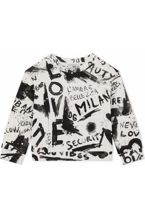 Dolce & Gabbana Kids Graffiti-print embellished sweatshirt