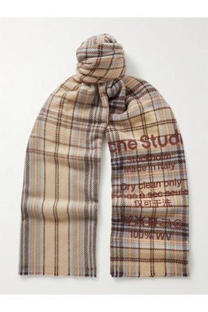 Acne Studios Heren Sjaals - Logo-Print Checked Wool Scarf