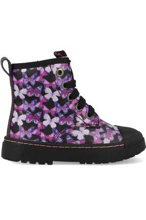 Shoesme Boot biker black pink butterfly sw21w011-a zwart