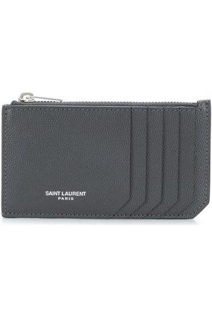 Saint Laurent Heren Portefeuilles - Zip-fastened leather cardholder
