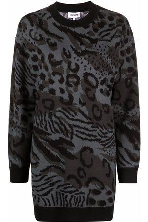 Kenzo Animal-pattern wool jumper dress