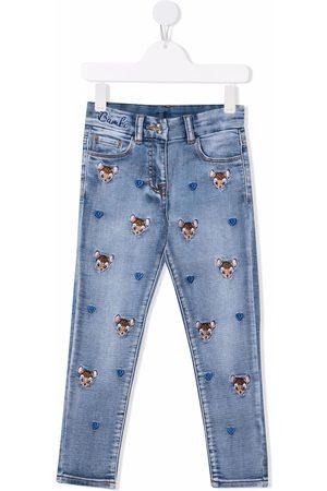MONNALISA Meisjes Straight - Bambi-embroidered straight jeans